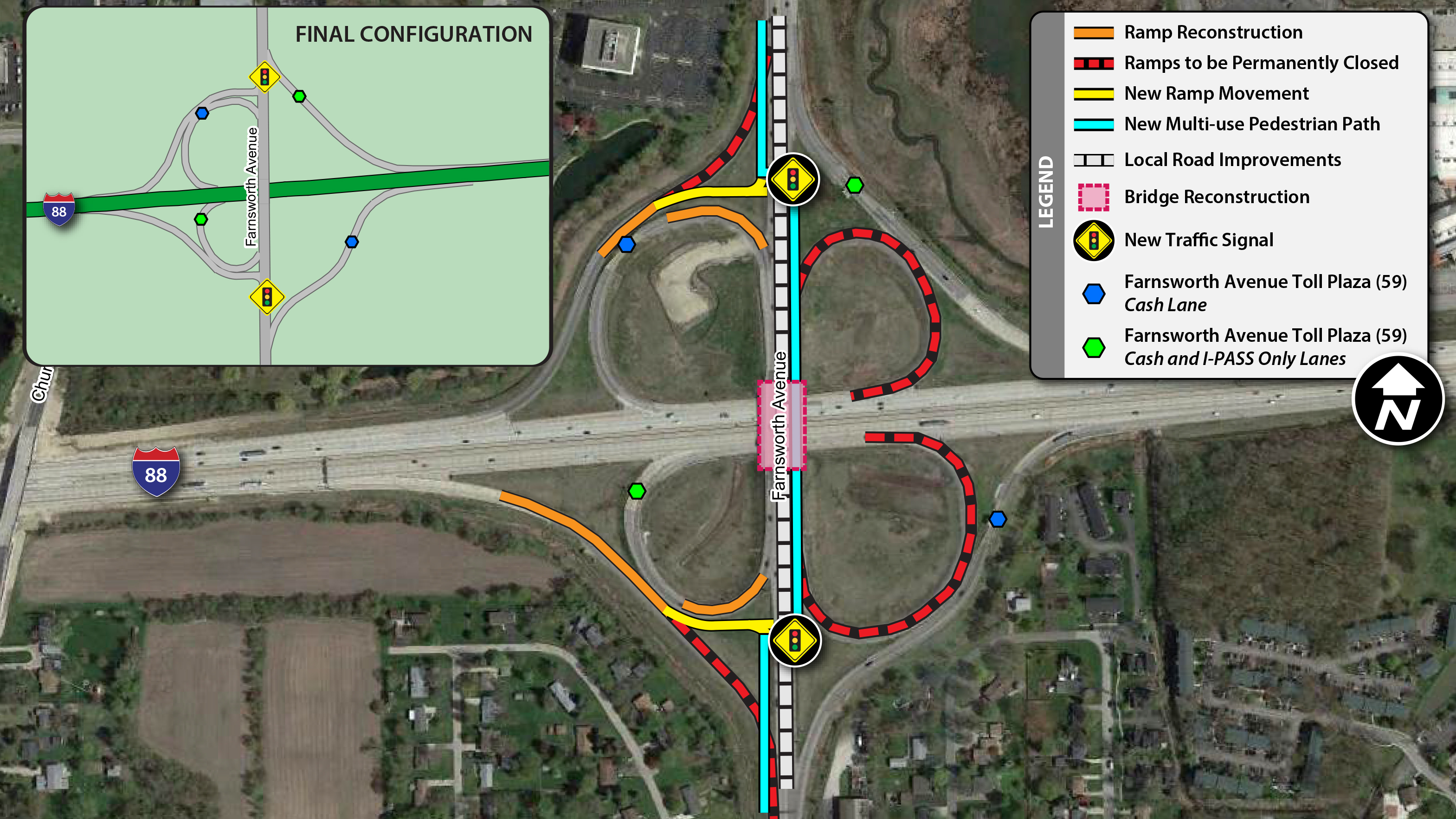 Projects - I-88 - Farnsworth Ave - Maps - Home - Illinois Tollway
