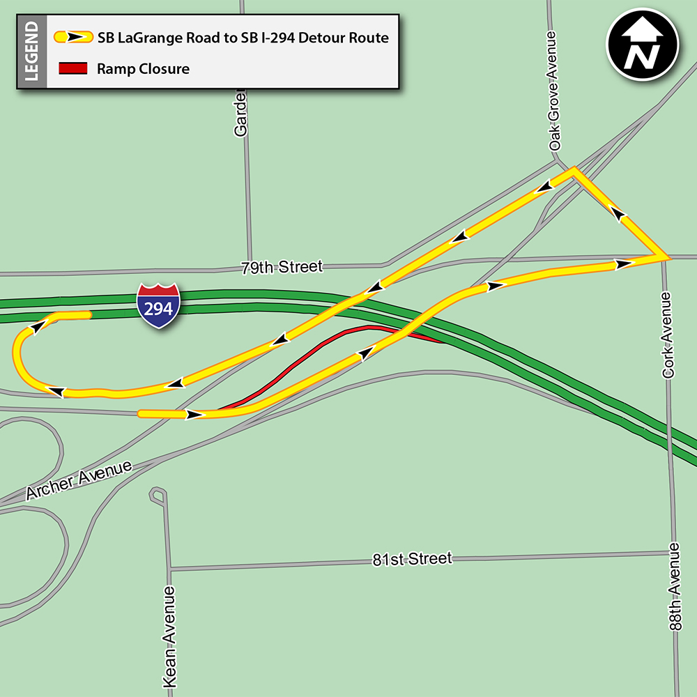 SB LaGrange Road to SB I-294 Ramp Closure Detour Map
