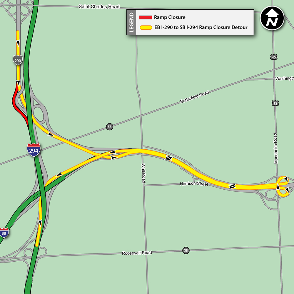 EB Archer Avenue to SB I-294 Ramp Closure Detour Map