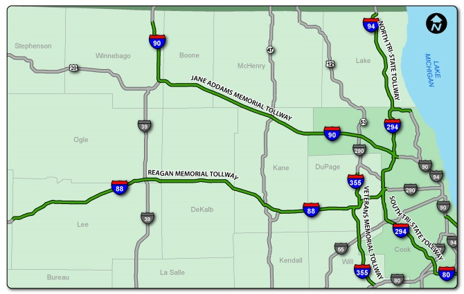 Illinois Toll Map | Area Code Map